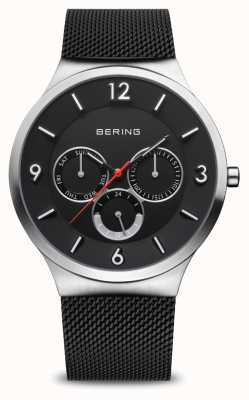 Bering Heren klassieker | geborsteld zilver | zwarte mesh armband 33441-102