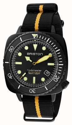 Briston Clubmaster duiker pro | zwart / gele nato band | zwarte wijzerplaat 20644.PBAM.B.34.NBY