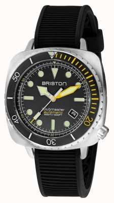 Briston Clubmaster diver pro steel | zwarte rubberen band | zwarte wijzerplaat 20644.S.DP.34.RB