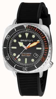 Briston Clubmaster diver pro steel | zwarte rubberen band | zwarte wijzerplaat 20644.S.DP.35.RB