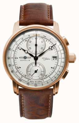 Zeppelin Heren chronograaf | 100 jaar | bruine leren band 8672-1