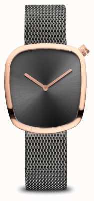 Bering Klassiek | kiezel | grijze mesh armband | grijze wijzerplaat 18034-369