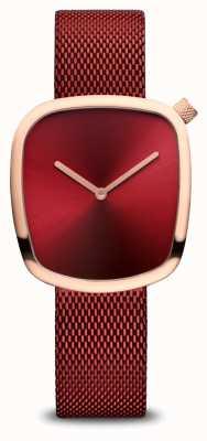 Bering Klassiek | gepolijst rosé goud | rode mesh 18034-363