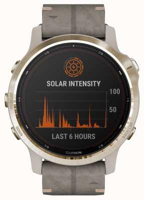 Garmin Fenix 6s pro solar | lichtgouden schalie grijze suede band 010-02409-26