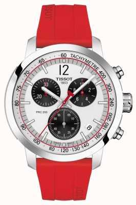 Tissot Prc 200 | chronograaf | zilveren wijzerplaat | rode rubberen band T1144171703702