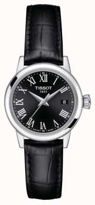 Tissot Dames   klassieke droom   zwarte wijzerplaat   zwarte leren band T1292101605300