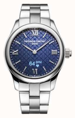 Frederique Constant Dames | vitaliteit | smartwatch | blauwe wijzerplaat | roestvrij staal FC-286N3B6B