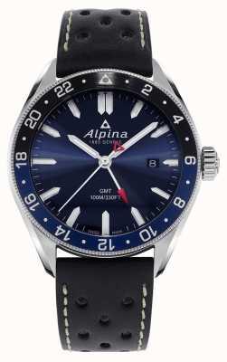 Alpina Alpiner quartz gmt | blauwe wijzerplaat | zwarte leren band AL-247NB4E6