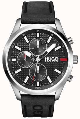 HUGO Heren #chase | zwarte wijzerplaat | horloge met zwarte leren band 1530161