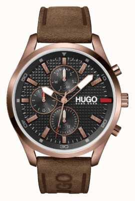 HUGO #Chase rose-gold IP | zwarte wijzerplaat | horloge met bruine leren band 1530162