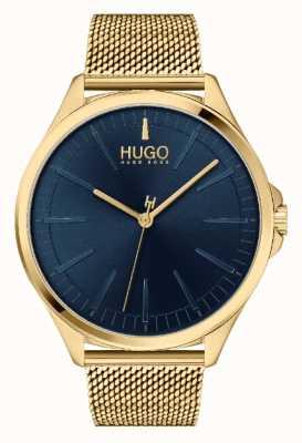 HUGO Heren #smash casual | blauwe wijzerplaat | gouden ip mesh armband 1530178
