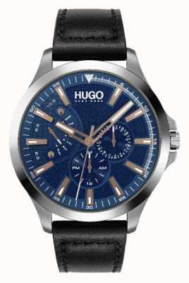 HUGO Heren #leap | blauwe wijzerplaat | roségouden accent | horloge met zwarte leren band 1530172
