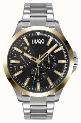 HUGO #leap casual | zwarte wijzerplaat | roestvrij stalen armband 1530174