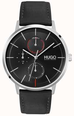 HUGO #bestaan | zwarte wijzerplaat | multifunctioneel | horloge met zwarte leren band 1530169