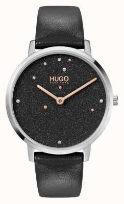 HUGO #dream business | vrouwen | zwarte leren band | zwarte kristallen wijzerplaat 1540068