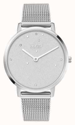 HUGO #dream business | vrouwen | stalen mesh armband | kristallen wijzerplaat 1540066