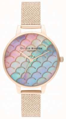 Olivia Burton Zeemeermin staart demi wijzerplaat rose gouden boucle mesh horloge OB16US45
