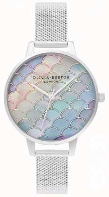 Olivia Burton Zeemeermin staart demi wijzerplaat zilver boucle mesh horloge OB16US46