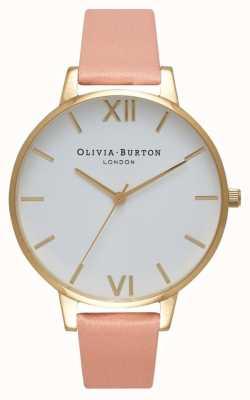 Olivia Burton Stoffig roze en gouden horloge met witte wijzerplaat OB16BDW13