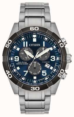 Citizen Brycen super titanium horloge met eeuwigdurende kalender, blauwe wijzerplaat BL5558-58L