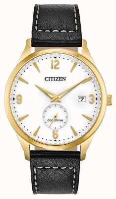 Citizen Herenhorloge eco-drive gouden ip-case zwart lederen band horloge BV1112-05A