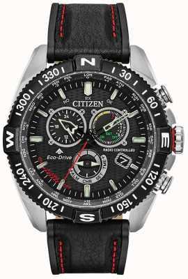 Citizen Mens promaster navihawk radiogestuurd op chrono zwarte wijzerplaat zwart leer CB5841-05E