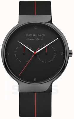 Bering Max rene voor heren | zwarte siliconen band | zwarte wijzerplaat 15542-423