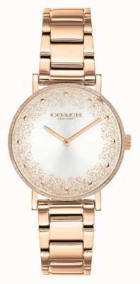 Coach Perry voor dames | roségouden stalen armband | zilveren wijzerplaat 14503639