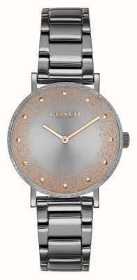 Coach Perry voor dames | grijze pvd stalen armband | grijze wijzerplaat 14503640
