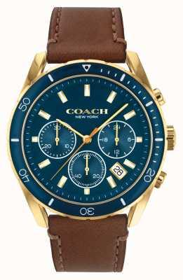 Coach Preston voor heren | bruine leren band | blauwe wijzerplaat 14602513