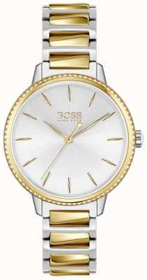 BOSS Handtekening voor dames | tweekleurige stalen armband | zilveren wijzerplaat 1502568