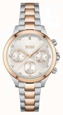 BOSS Hera voor dames | tweekleurige stalen armband | zilveren wijzerplaat 1502564