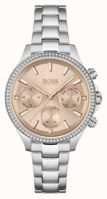 BOSS Hera voor dames | roestvrijstalen armband | rose wijzerplaat 1502565