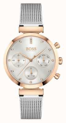 BOSS Dames onberispelijk | stalen mesh armband | zilveren wijzerplaat 1502551