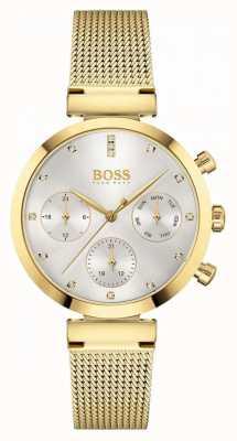 BOSS Dames onberispelijk | vergulde mesh armband | zilveren wijzerplaat 1502552
