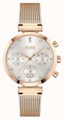 BOSS Dames onberispelijk | roségouden mesh armband | zilveren wijzerplaat 1502553