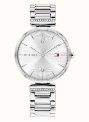 Tommy Hilfiger Aria voor dames   roestvrijstalen zilveren armband   zilveren wijzerplaat 1782273