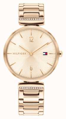 Tommy Hilfiger Aria voor dames | roségouden stalen armband | rose gouden wijzerplaat 1782271