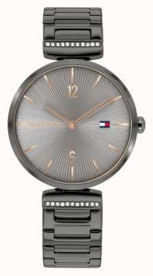 Tommy Hilfiger Aria voor dames | staalgrijze stalen armband | grijze wijzerplaat 1782276