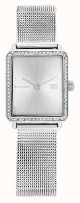 Tommy Hilfiger Thee voor vrouwen | stalen mesh armband | zilveren vierkante wijzerplaat | 1782294
