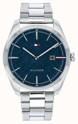 Tommy Hilfiger Theo voor heren | roestvrijstalen zilveren armband | blauwe wijzerplaat 1710426