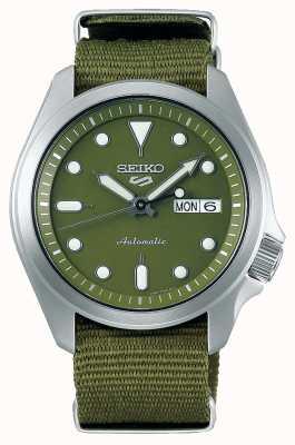 Seiko 5 groene nylon sportband met groene wijzerplaat voor heren SRPE65K1