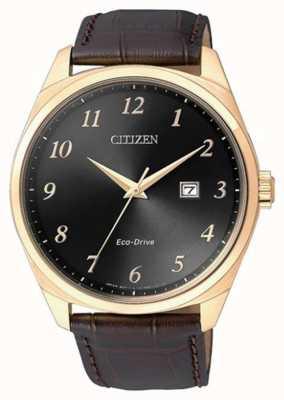 Citizen Eco-drive herenhorloge met gouden IP-bruine lederen band BM7323-11E