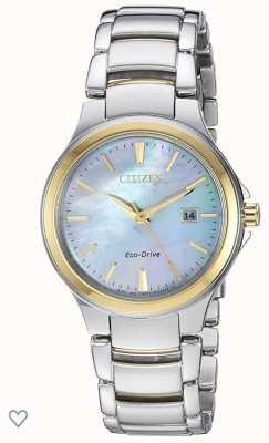 Citizen Dames silhouet eco-drive parelmoer roestvrij staal en roségouden ip-horloge EW2524-55N