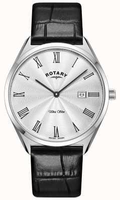 Rotary Ultraslank heren | zwarte leren band | zilveren wijzerplaat GS08010/01
