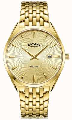 Rotary Ultraslank heren | vergulde stalen armband | gouden wijzerplaat GB08013/03