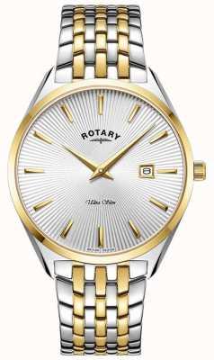 Rotary Ultraslank heren | tweekleurige stalen armband | zilveren wijzerplaat GB08011/02