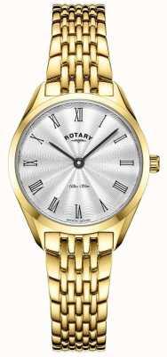 Rotary Ultraslank dames | horloge van verguld staal | zilveren wijzerplaat LB08013/01