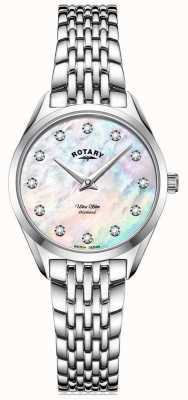 Rotary Ultraslank dames | roestvrijstalen armband | diamanten parelmoer wijzerplaat LB08010/07/D