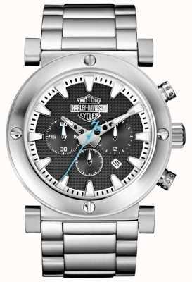Harley Davidson Chronograaf voor heren | roestvrijstalen armband | zwarte wijzerplaat 76B166